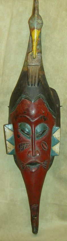 GURO Mask Ivory Coast Hand Carved Wood BIRD HEADDRESS African Art Collectibles