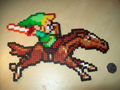 Nintendo Legend of Zelda Link on Epona Hama Perler beads. £10.00, via Etsy.