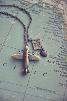 Fernweh, wanderlust airplane and passport necklace Cute Jewelry, Jewelry Box, Jewlery, Jewelry Accessories, Jewelry Design, Photo Polaroid, Wanderlust, Winter Travel, Holiday Travel