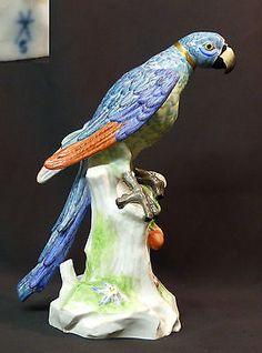 19èm porcelaine  SAMSON Paris superbe grand perroquet Ara 32cm1.7kg Meissen ENS