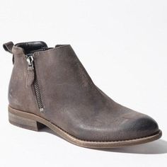 Franco Sarto Distressed Ankle Booties Haverly side zipper ankle booties in distressed leather with a wooden sole and flat heel. Zippers on both sizes of the boot. Round toe. Like new. Worn once. Just decided not my style. Franco Sarto Shoes Ankle Boots & Booties