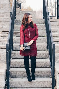 Blogger outfit burgundy self portrait crochet lace dress black over-the-knee boots