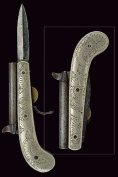 A rare knife-pistol,     provenance: Belgium dating: mid-19th Century.