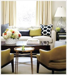 Bronze and rich muted yellow adds warmth to an existing neutral palette