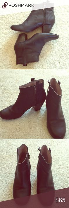 """Anthropologie Black Leather Ankle Boots Nice and Soft Smooth💯% Leather Uppers, stacked heels about 2.5"""". Pull-on Tabs & zippers. Cushioned Footbed. Some wear but still in great condition. Brand name missing from inside of left boot, but are from Anthropologie. Small knicks and scuffs on heels. Nothing major. Price reflects. Open to reasonable offers. Anthropologie Shoes Ankle Boots & Booties"""