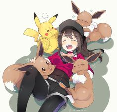 ♥ Girl... Eevee... Pikachu... Pokémon GO!... Pokémon Trainer... Anime ♥