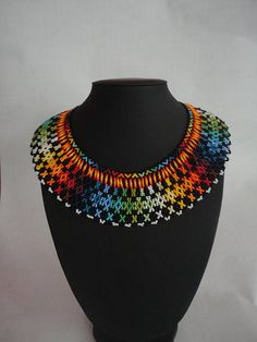 Beautiful handcraft necklace by Embera Natives. Indian Necklace, Tribal Necklace, Tribal Jewelry, Boho Jewelry, Soutache Jewelry, Seed Bead Jewelry, Beaded Jewelry, Beaded Necklace, Handmade Necklaces