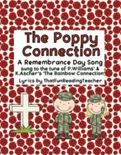 #RemembranceDay Story, Song & Activity booklet: The Poppy Connection $ Ideal for young children with the focus on how kids can be kind and work towards peace to thank veterans and military. Sung to tune of #RainbowConnection