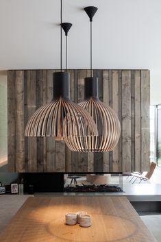 Gallery of Pied à terre Gent / Steven Vandenborre - 4 Light Bulb Chandelier, Pendant Light Fixtures, Pendant Lighting, Lighting Showroom, Home Lighting, Lighting Design, Teal Kitchen Decor, Modern Kitchen Lighting, Bamboo Light
