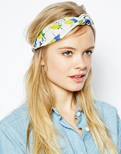 ASOS Knot Turban Headband In Bird Print