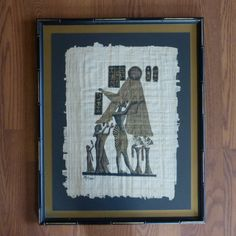 Vintage Framed Egyptian Papyrus Painting/ Decor/ by northwoodsfrog