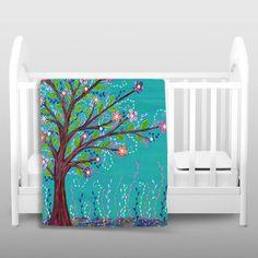 Throw Blanket Fleece - Happy Tree - modern - Throws - DiaNoche Designs