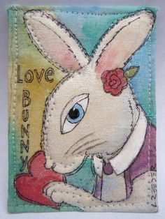 artist trading card metallic acrylic on fabric sewn- by Lynn Reeder