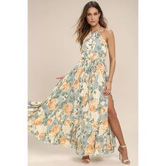 Precious Memories Light Blue and Peach Floral Print Maxi Dress ($134) ❤ liked on Polyvore featuring dresses, blue, pink floral dress, blue cocktail dresses, pink cocktail dress, light blue dress and floral maxi dress