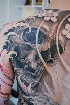 Skull back tattoo #tattoo #ideas #skull #ink