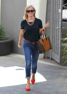 Reese Witherspoon wearing Frame Denim Le Garcon Mid Rise Skinny Boyfriend Jean in Berkley Square Blue available at Cocaranti.