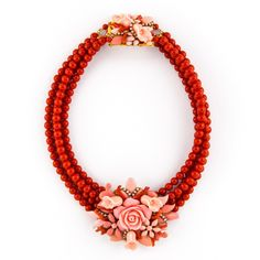 JJ Caprices - Coral and Rose Choker Necklace by DUBLOS ($298) ❤ liked on Polyvore featuring jewelry, necklaces, rose jewelry, rose choker, coral necklace, swarovski crystal jewelry and coral jewelry