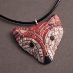 Fox Mosaic Pendant on Leather cord