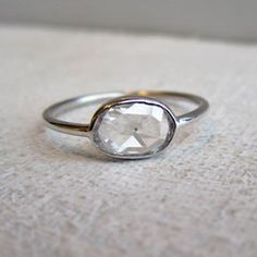 very simple, no frills. open back 1 carat rose cut.
