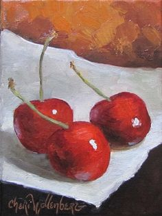 This was such fun to do!!! These red cherries were some I picked up at a local food market. Yummy... they were so good, but to paint them first