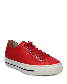 Paul Green Women's Dawn Lace Up Sneakers Shoes - Bloomingdale's Green Sneakers, Shoes Sneakers, Red Jeans, Paul Green, Chuck Taylor Sneakers, Dawn, Red Leather, Lace Up, Adidas