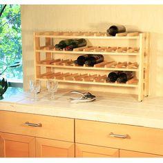 4-Shelf 40-Bottle Wine Rack in Solid Birchwood