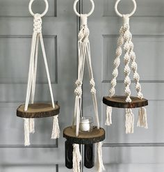 """These three macrame """"slab"""" shelves will be with me at the SOJ Farmer's Market this Saturday! Macrame Plant Hanger Patterns, Macrame Wall Hanging Diy, Macrame Plant Holder, Macrame Art, Macrame Projects, Macrame Patterns, Micro Macrame, Macrame Design, Macrame Tutorial"""
