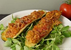 A low calorie, low fat summer recipe Fast Day Stuffed Courgettes or Zucchini, with Turkey - Ideal for a 5-2 Diet Fast day or for any other low calorie diet