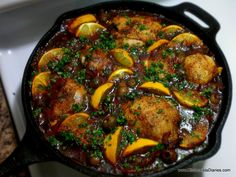 Moroccan Skillet Chicken with Lemons & Olives