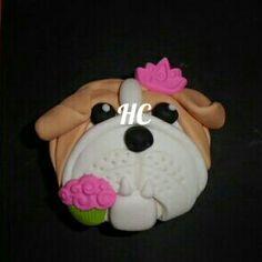 Cupcakes perro fondant dog