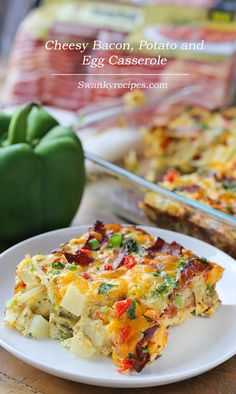 Cheesy Bacon, Potato and Egg Casserole - Serve up a plate of cheesy potato egg bake. This breakfast casserole is stuffed with premium applewood smoked bacon, fresh bell peppers, chopped tomatoes, cheddar cheese, breakfast potatoes and herbs.