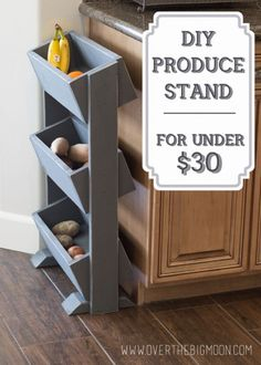 Build a Produce stand for your kitchen for less than $30. Produce always gets used more if its seen and I love that this makes it seen but still cute. Full tutorial with pictures!