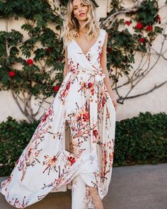6e6f6ee405 DeRuiLaDy Boho Floral Print Vintage Long Dress Sexy V Neck Dleeveless Women  Maxi Dresses Summer Split Beach Party Dress Vestidos