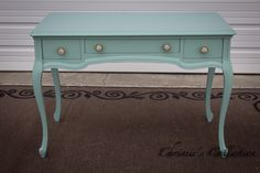 """French Provincial desk painted in a soft Aqua. Measures 42""""x21"""" and 29""""t. $225. On display in our booth at University Pickers in Huntsville."""