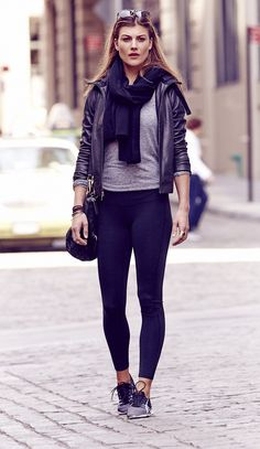 Shades of Black #athleta Fall 2014. This black #leather #coat is beautiful!