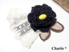 * Charin Hand made *バラとレースのコサージュ/ブラック