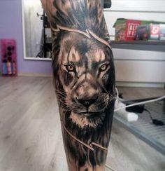 Leg Sleeve Lion Tattoo Designs For Guys