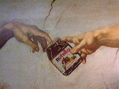 Fun with Art History. Who knew Michelangelo was such a fan of Nutella? Michelangelo, Art Ninja, Mona Lisa, The Creation Of Adam, Sistine Chapel, Arte Pop, Creative Advertising, Oeuvre D'art, Art History
