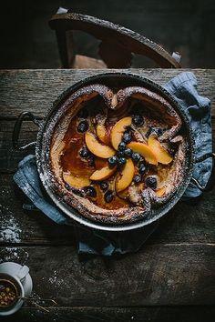 Peach & Blueberry Dutch Baby with Homemade Peach Jame + A Copper Giveaway | by Eva Kosmas Flores