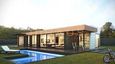 Equilibrio perfecto entre funcionalidad y diseño en este modelo inHAUS. Una vivienda modular con grandes ventanales, espacios diáfanos y habitaciones dobles.