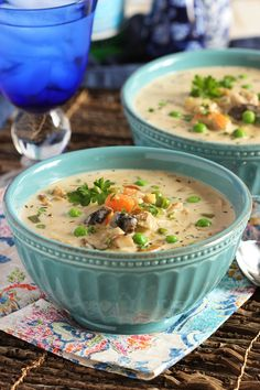 Creamy Chicken Soup with Artichokes and Mushrooms | TheSuburbanSoapbox.com