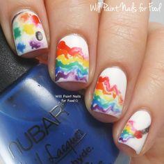 Freehand painting and palette nail art. For Digit-al Dozen Thankfulness week. Girls Nail Designs, Nail Art Techniques, Girls Nails, Disney Nails, Balenciaga, Fun Nails, Girly, Thankful, Rainbows