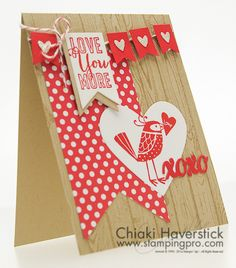 February Stamp-A-Stack #5: Love Bird Valentine February 14th, 2014   Love You More and Hardwood Stamp Sets; Real Red and Crumb Cake inkpads and cardstocks; Polka Dot Parade DSP; Banners Collection and Hearts Collection Framelits; Banner punch; Thinlits Circle Card; Cherry Cobbler Bakers twine; Silver Glimmer paper.