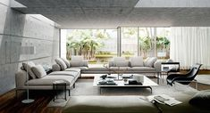 Best 35 Stylish Living Rooms That Use Concrete To Stand Out #livingroomideas #livingroomdecor #livingroomdecorideas Living Room Modern, Living Room Sofa, Interior Design Living Room, Living Room Furniture, Living Room Designs, Living Rooms, Living Area, Contemporary Interior Design, Contemporary Bedroom