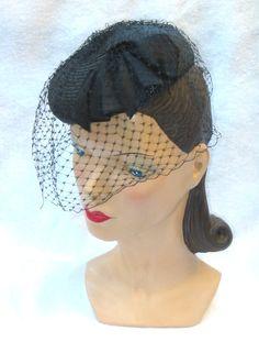 1940's Vintage Black Tilt Hat w Bird Cage Veil by MyVintageHatShop, $60.00