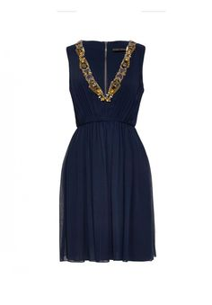 Navy bridesmaid dress with gold embellished v-neck