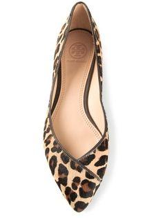 Tory Burch leopard coconut ballerinas