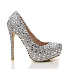 By Bella Luna, Rhinestone Studded Platform Stiletto Dress Heels Platform Stilettos, Stiletto Heels, High Heels, Pumps, Silver Glitter Shoes, Silver Rhinestone, Luna Shoes, All About Shoes, Brian Atwood