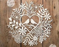 SALE SVG / PDF Love Birds Foliage Design - Papercutting Template to print and cut yourself (Commercial Use) Kirigami, Papercut Art, Love Birds Painting, Paper Cutting Templates, Love Birds Wedding, Cricut, Tree Designs, Print And Cut, Paper Crafting