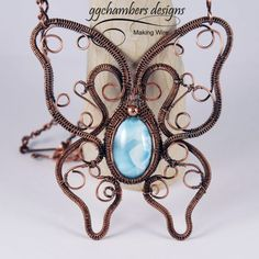 Antiqued Copper Woven Wire Butterfly Necklace with Larimar Cabochon and Handmade Chain